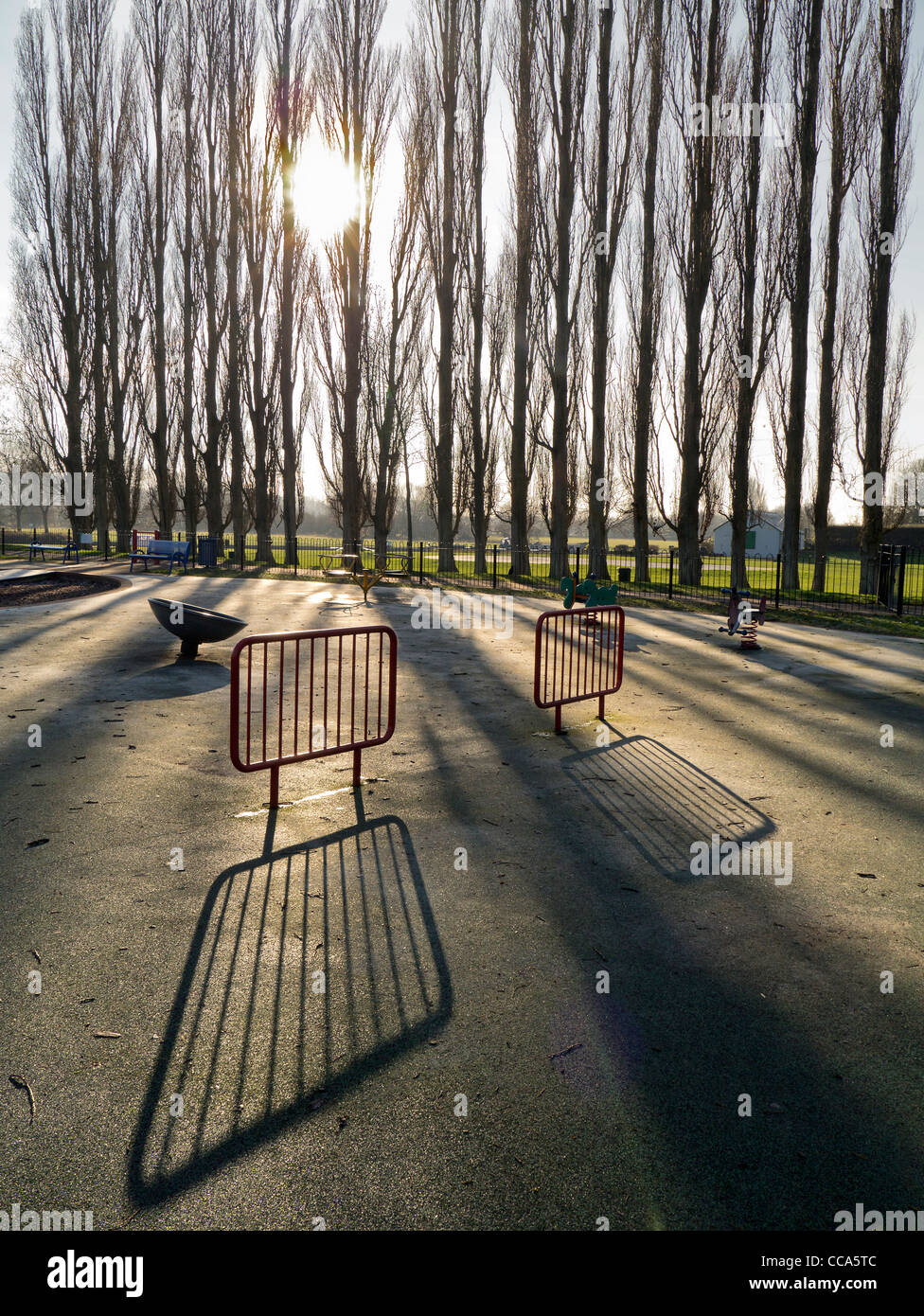 Deserted playground in Abbey Fields, Abingdon - winter morning 8 - Stock Image