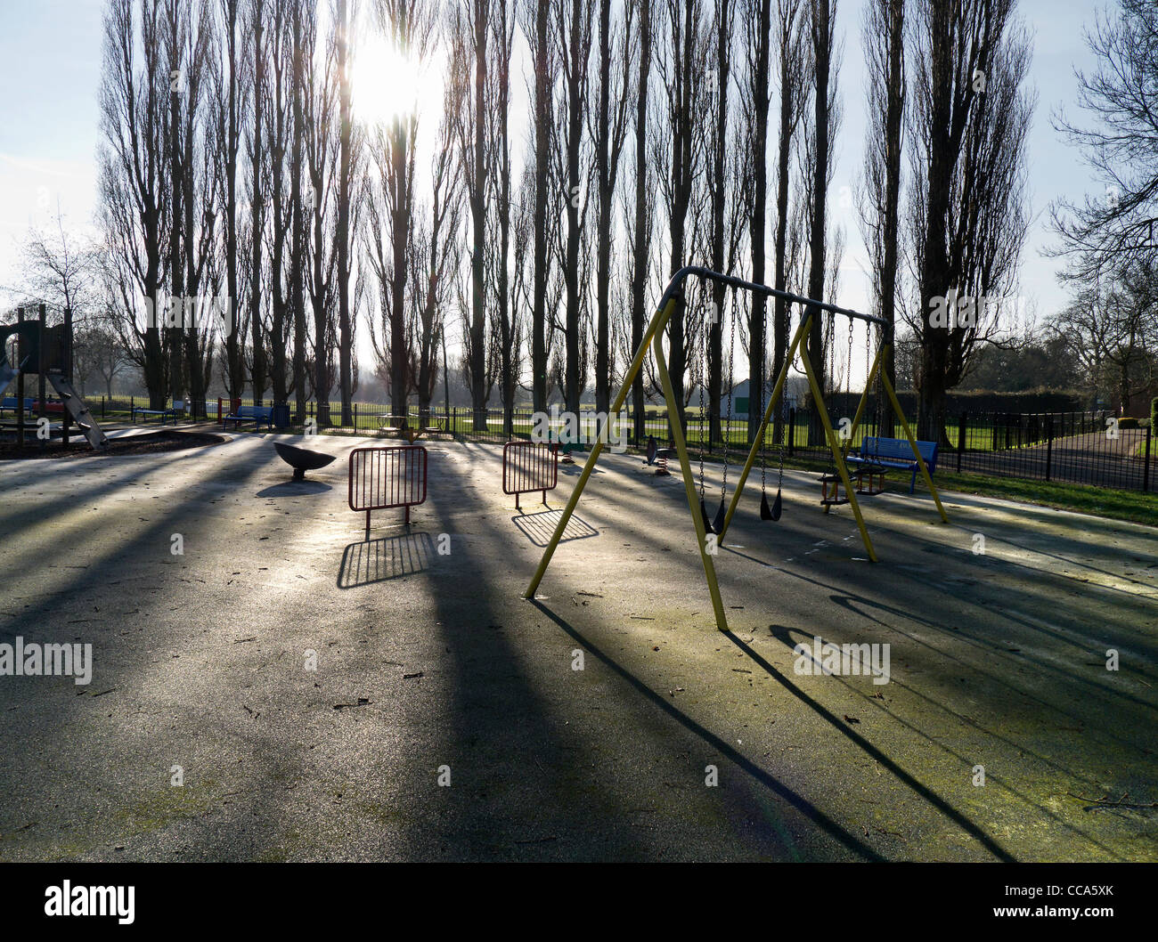 Deserted playground in Abbey Fields, Abingdon - winter morning 6 - Stock Image