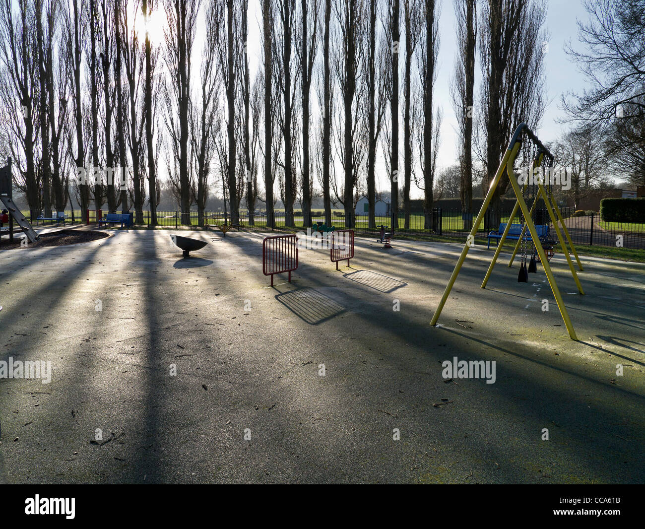 Deserted playground in Abbey Fields, Abingdon - winter morning 4 - Stock Image