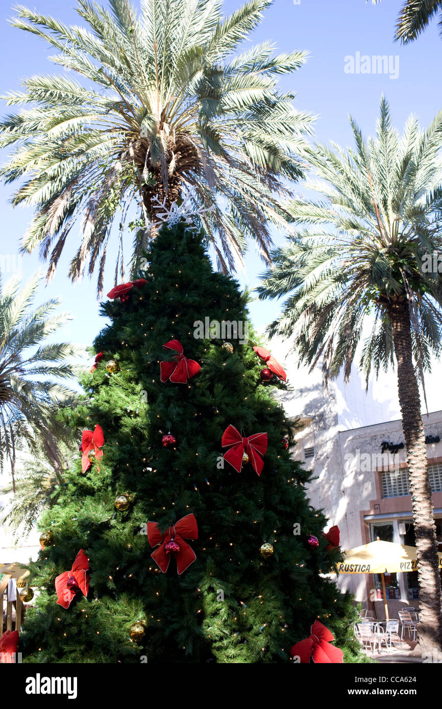 A Christmas tree and decorations juxtaposed against Palm Trees in Lincoln Drive Miami Beach's main shopping - Stock Image