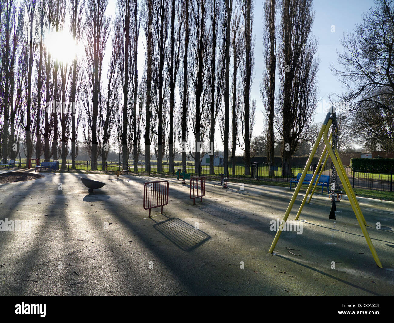 Deserted playground in Abbey Fields, Abingdon - winter morning 1 - Stock Image