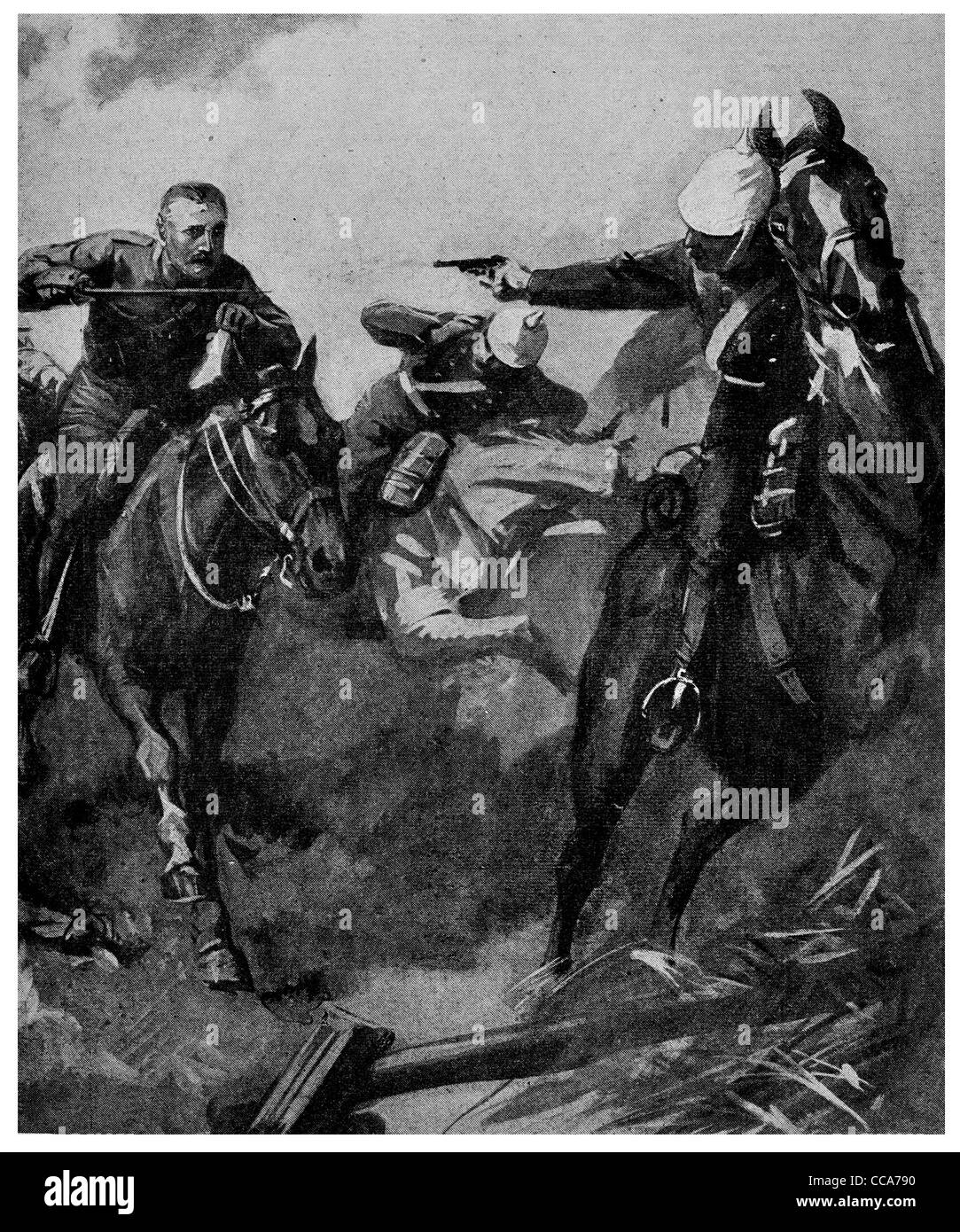 1914 British cavalry against German Uhlans cavalry charge Uhlan horse horses saber pistol lance battle field - Stock Image