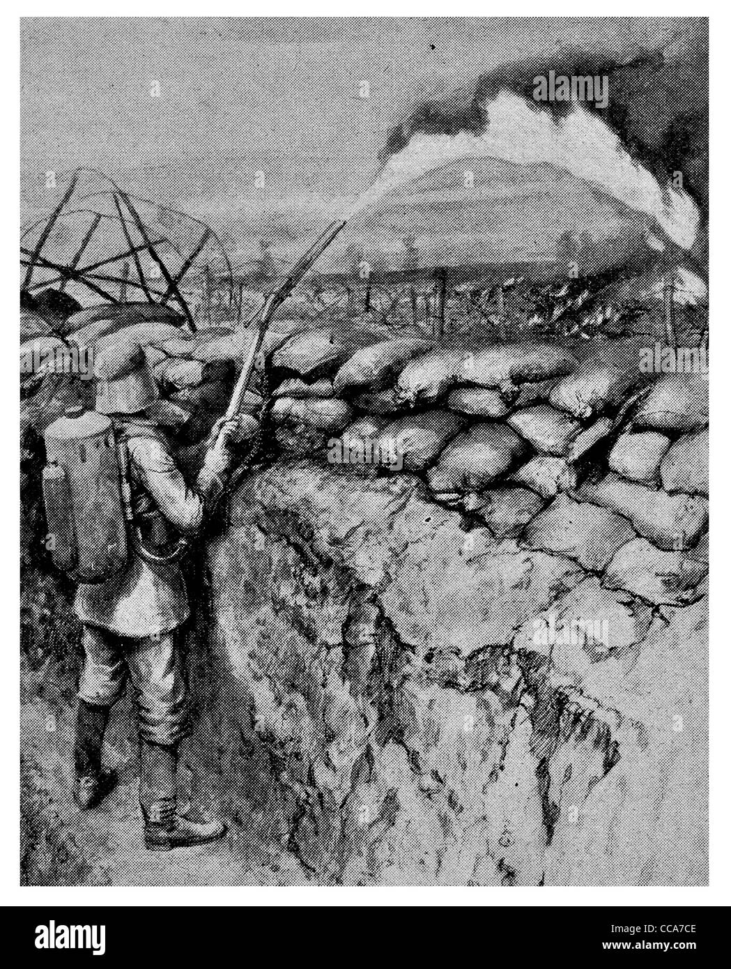 1915 German Flame thrower Hooge trenches spraying British troops liquid fire gas propane Flanders Belgium tank barbed - Stock Image