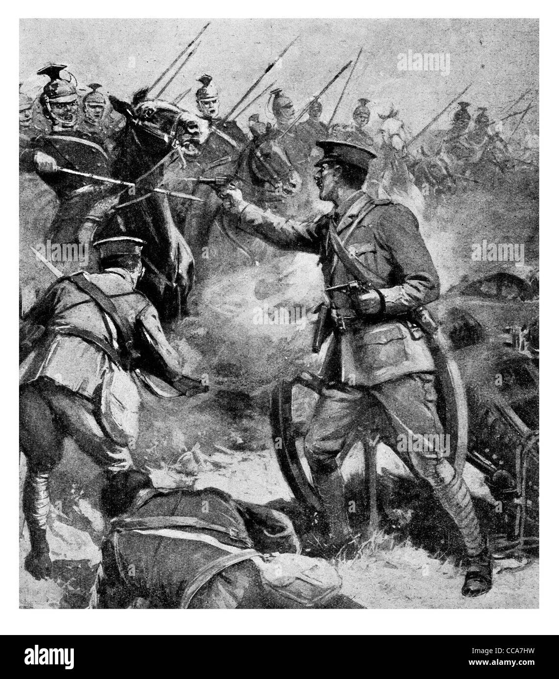 No surrender British artillery officer attacked by 3000 Uhlans Uhlan cavalry Tournai Aug 26th 1914 bravery brave - Stock Image
