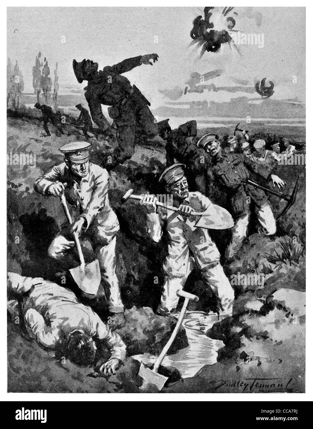 1915 Heroes Lord Kitchener's old regiment British Army Trench warfare spade shovel pick Axe digging dig grenade - Stock Image