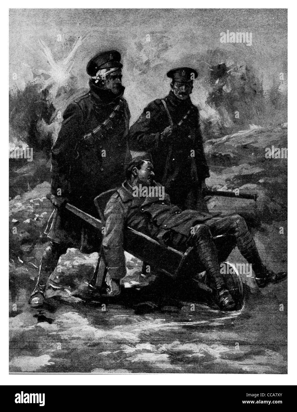 1916 wounded Hussar saves Officer wheelbarrow rescue wound injured injury help friendship explosion battle field - Stock Image