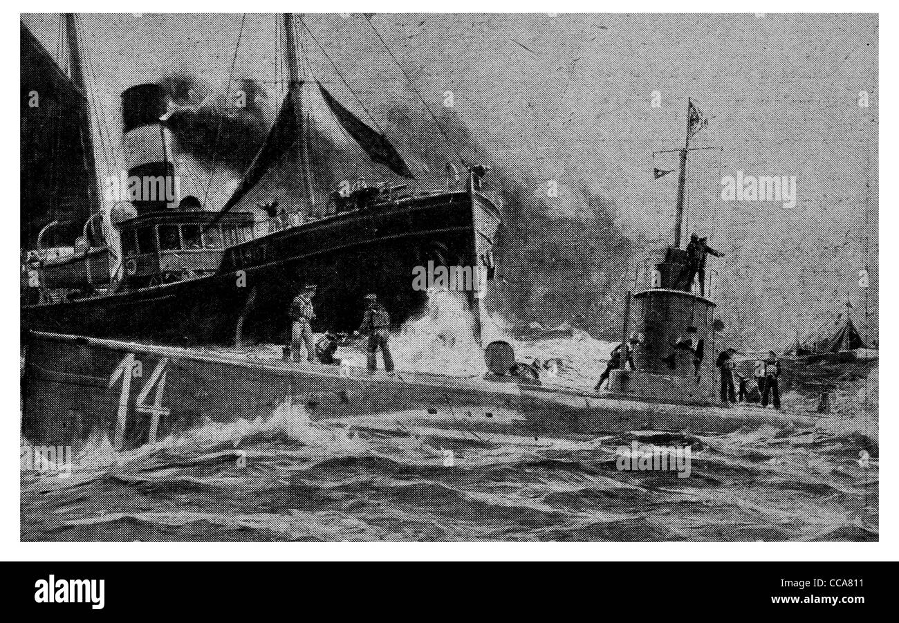 1915 German propaganda U boat submarine ramming British trawler sea Naval Navy sub ship boat steamer steamship merchant - Stock Image