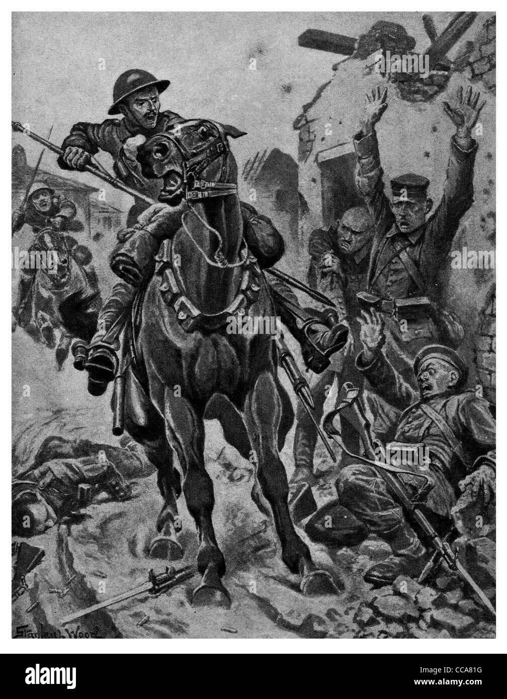 1917 British cavalry charging on German Hun charge saber lance bayonet rifle officer rubble terror shock horse saddle - Stock Image
