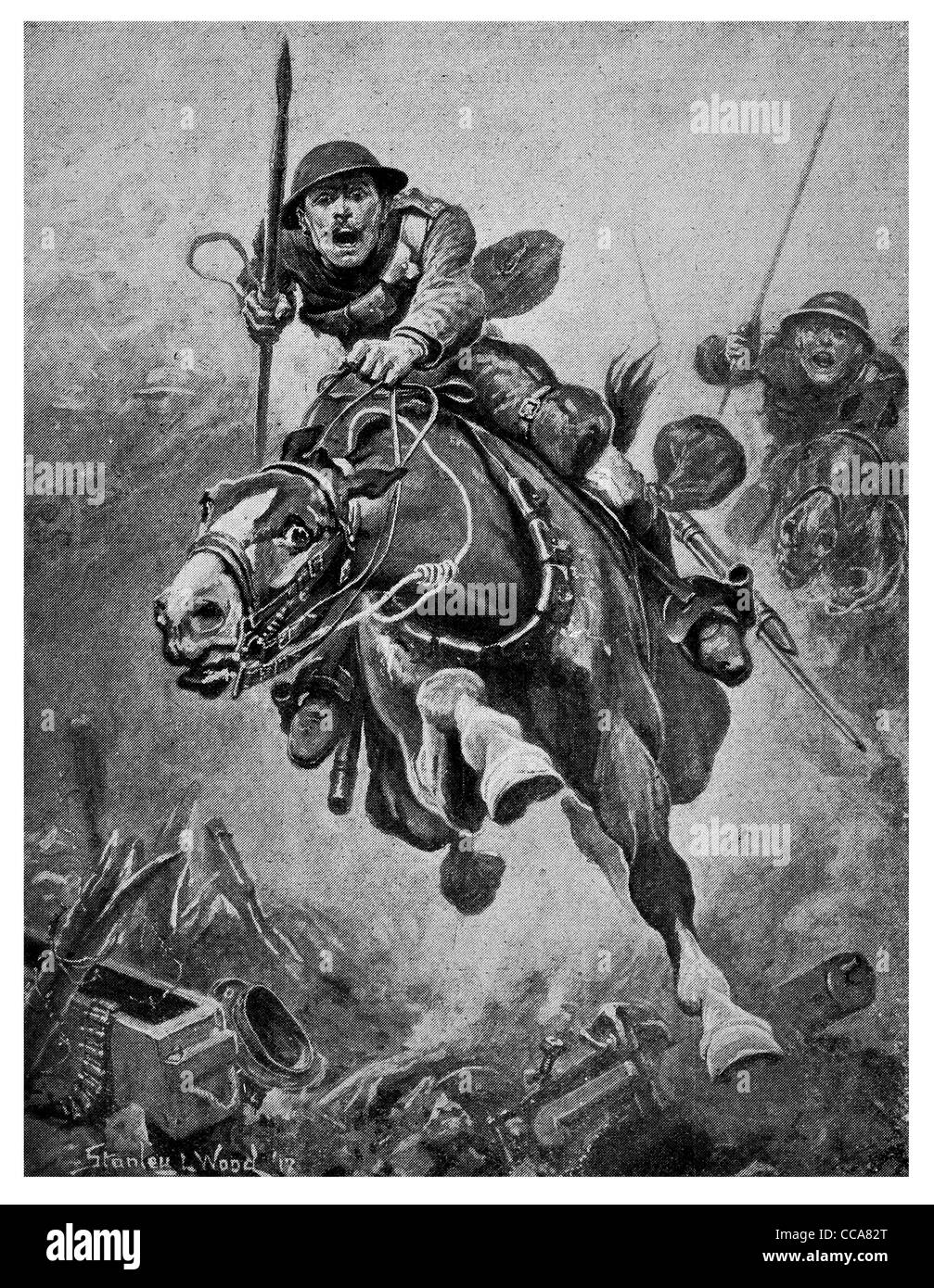 1917 British cavalry charge western front lance gallop charging horse bravery brave anger fear battlefield no mans - Stock Image