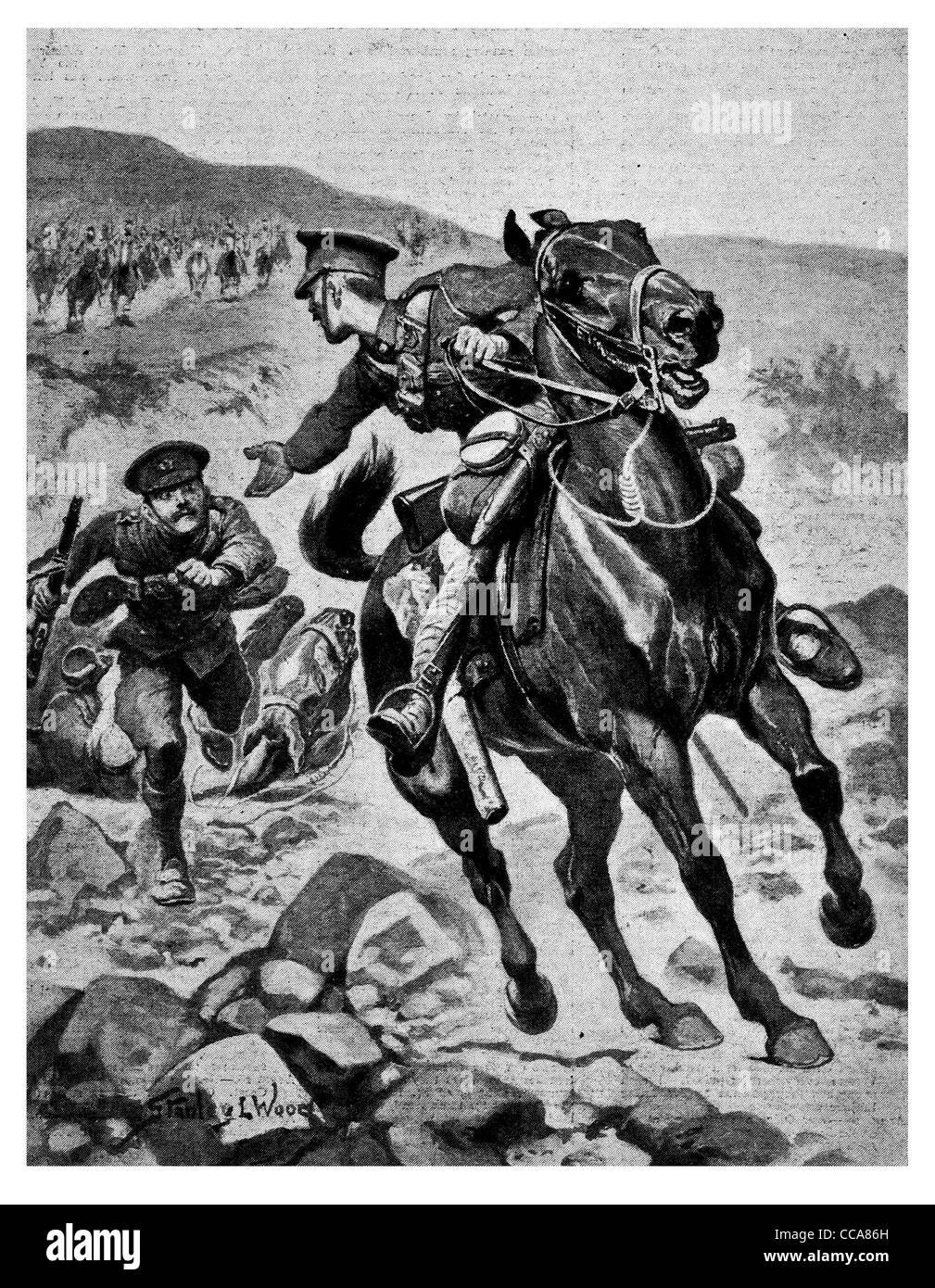 1916 saving comrade dragging saddle British cavalry escape rescue brave riding horse running away fear help helping - Stock Image