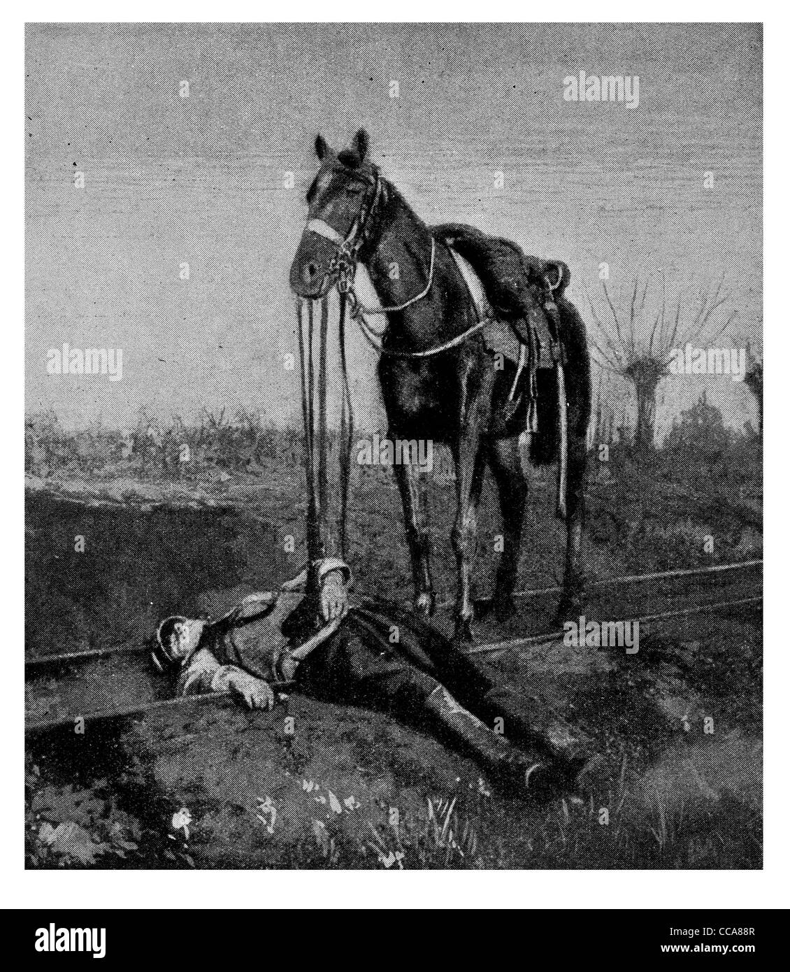 1915 horse dead soldier sad body rail track loyal somber saddle cavalry mortally wounded casualty uniform shot stabbed - Stock Image