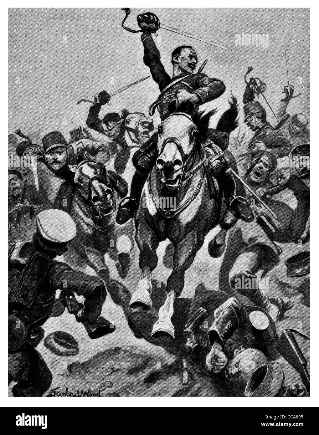 1916 French cavalry attacked 200 Germans with Sabers lance charge glory horse anger stab slash mortally wounded - Stock Image