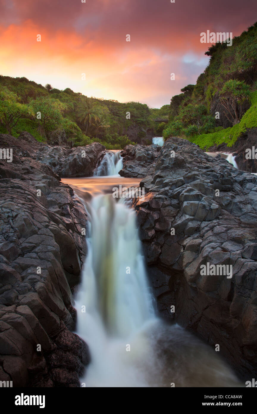 Ohe'o Gulch - aka Seven Sacred Pools, Haleakala National Park, near Hana, Maui, Hawaii. - Stock Image