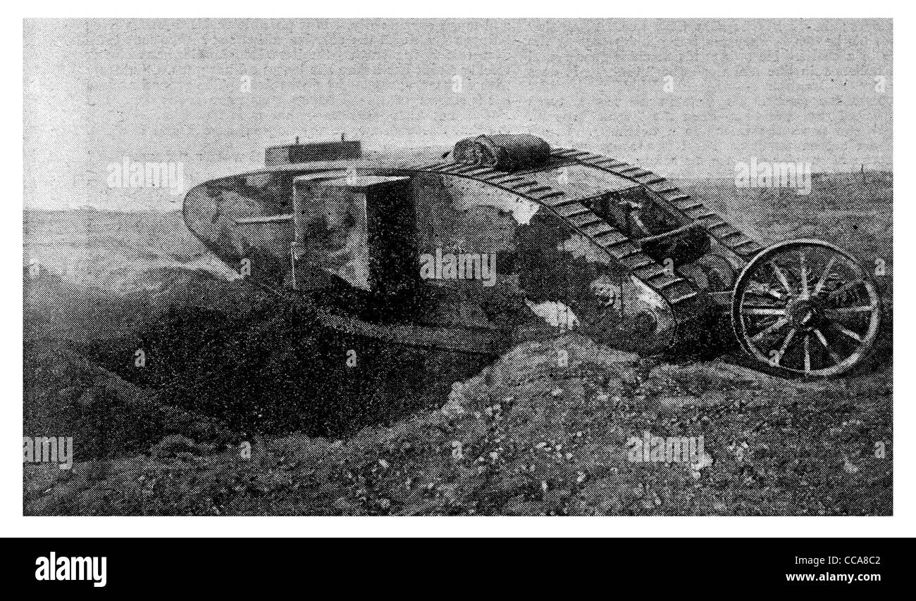 1916 tank crawling over trench no mans land caterpillar track advance terror machine gun Royal Engineers cavalry - Stock Image