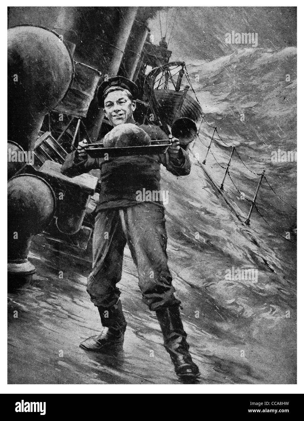 1916 British Navy sailor carrying Christmas pudding storm dessert winter storm crashing wave waves steamer steam - Stock Image