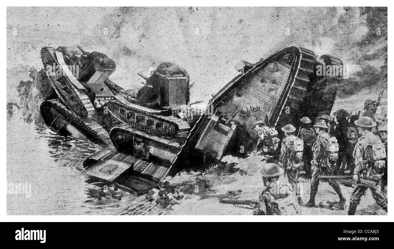 1918 British tank September 27th Canal du Nord France bridge for Infantry tanks man made machine gun Royal engineers - Stock Image