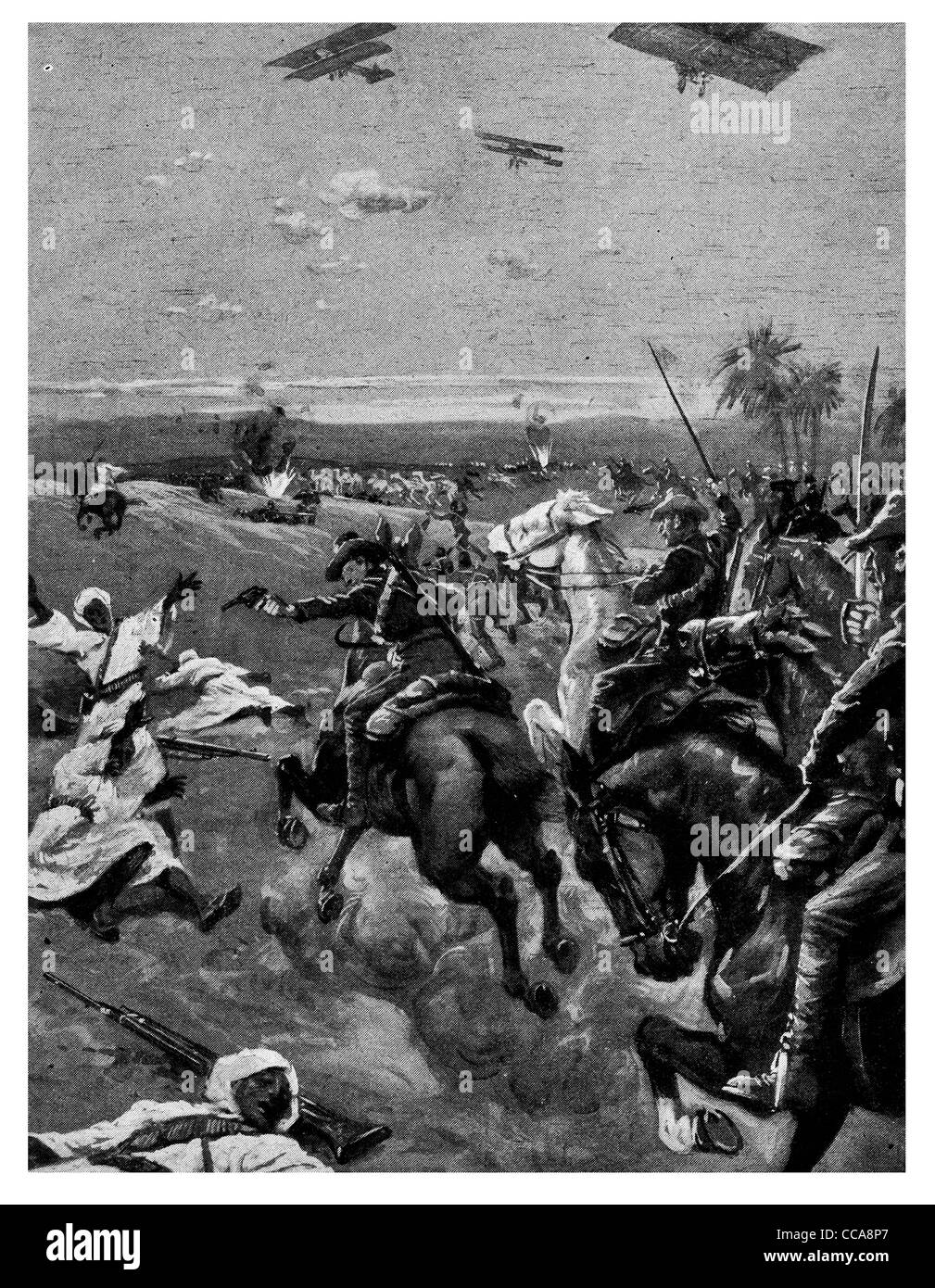 1916 Anzac New Zealand mounted troops Swords bombs scatter enemy Egypt British airman lance saber sword Desert Egyptian - Stock Image
