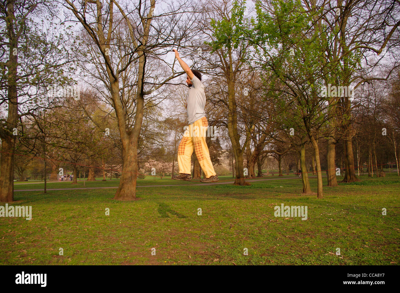 A man Slack Lining in Bute Park Cardiff - Stock Image