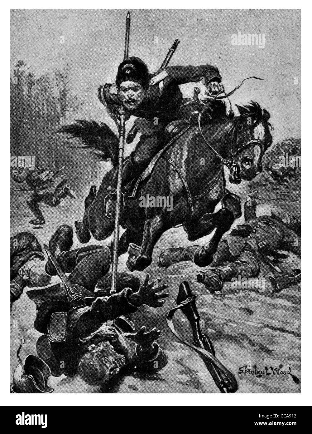 1915 Russian Cossack Kirianoff charged killed 11 German by lance sword saber cavalry mounted horse riding rider - Stock Image