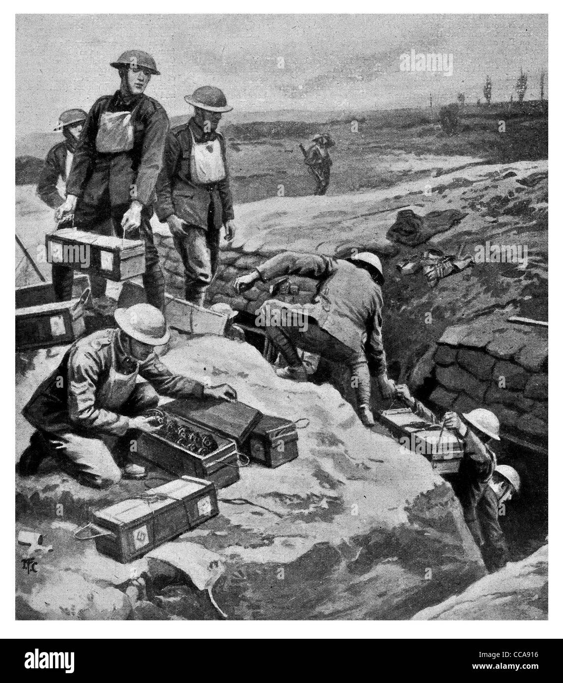 1917 2nd British second Army supply line bombs munitions sand bag wall trench ammunition box hand grenade logistics - Stock Image