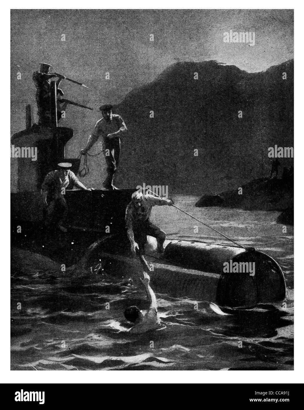 1915 august 21st Lieut D'Oyly Hughes swam from a submarine E11 to destroy Constantinople Baghdad Railway viaduct - Stock Image
