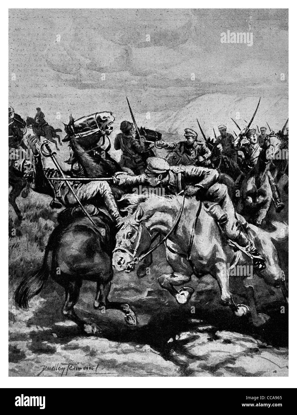 1916 Hungarian cavalry sabre attack saber sword lance horse charge charging stagging stab wounded wounding wound - Stock Image