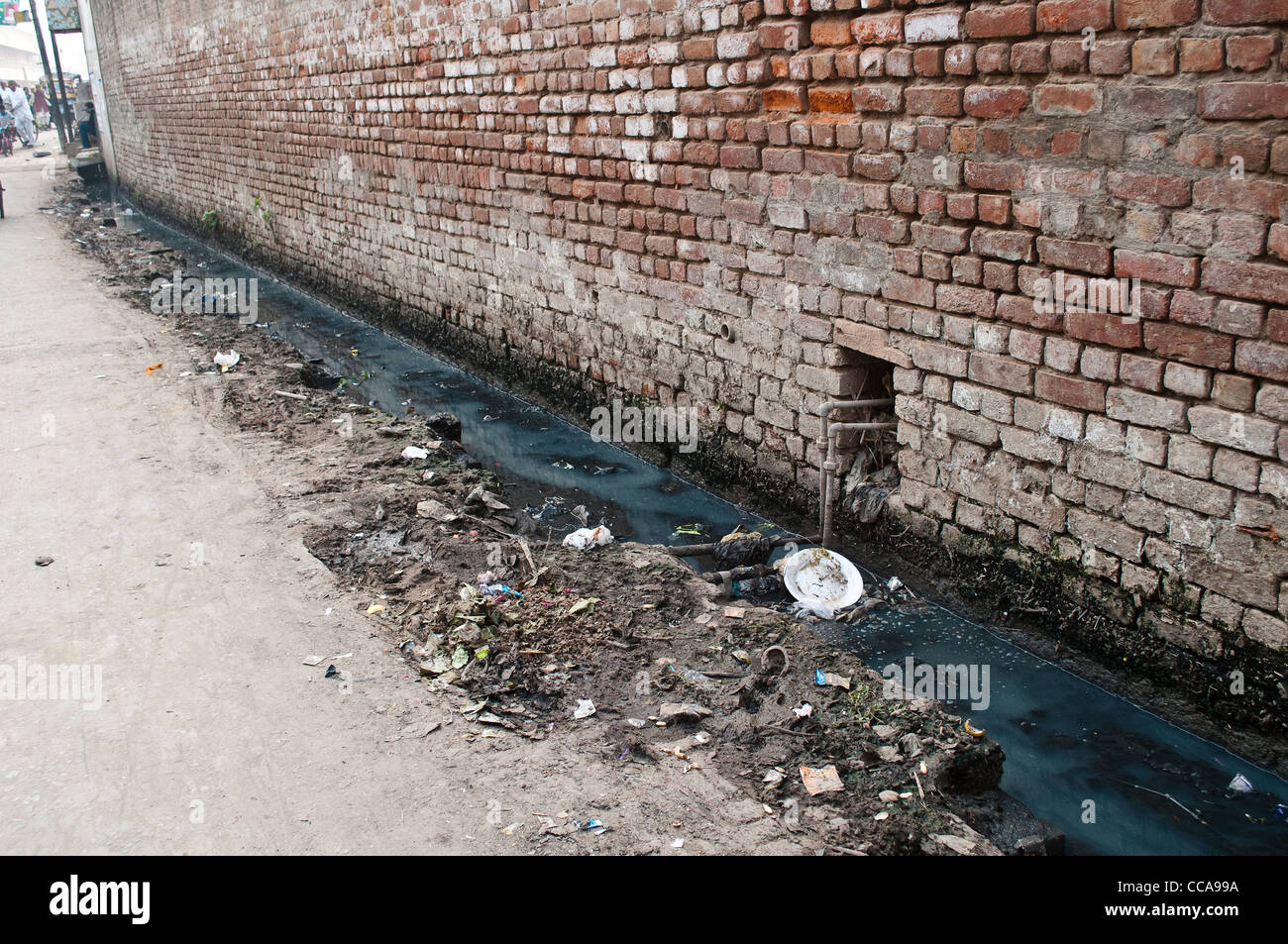 Open sewer, Vrindavan, Uttar Pradesh, India - Stock Image