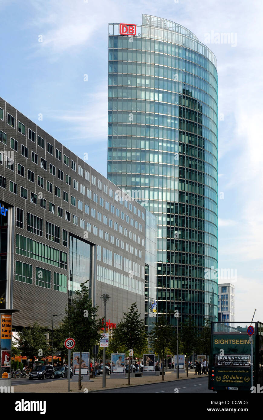 Head office of the German railway at Potsdam Place in Berlin. - Stock Image