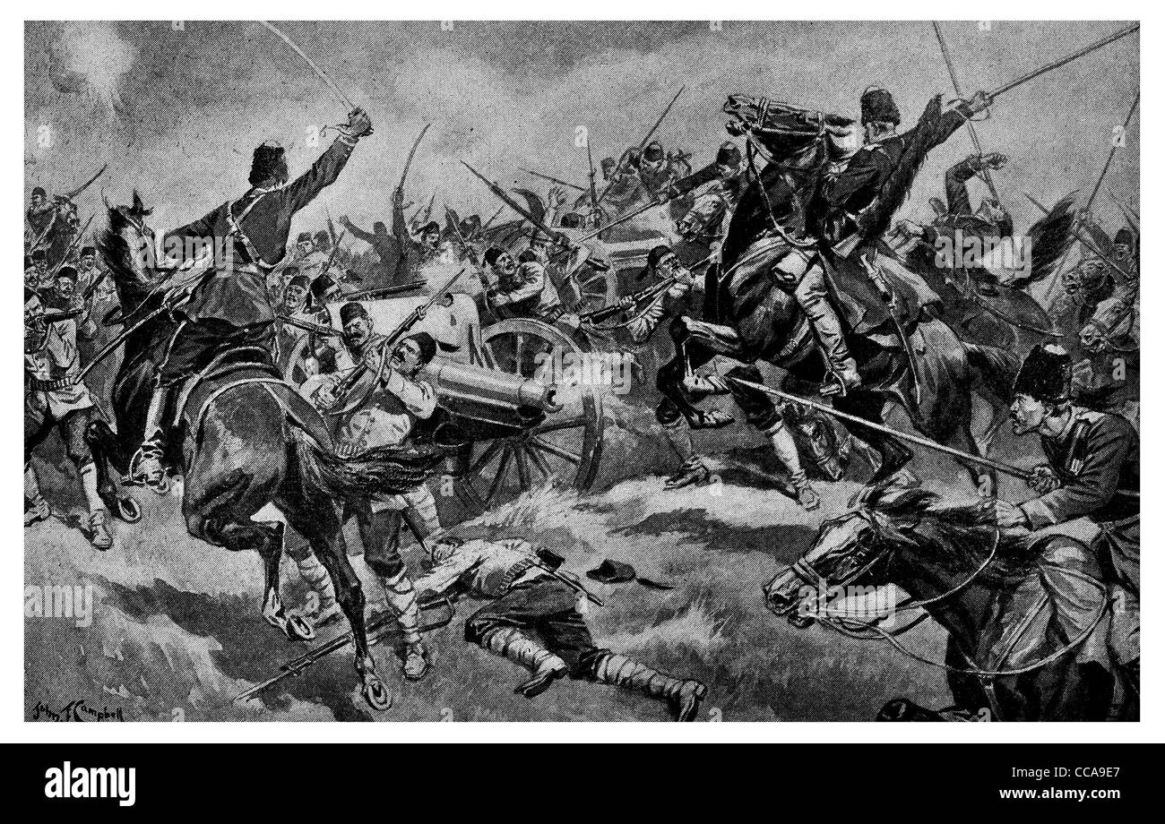 1914 Turkish artillery wiped out by Cossack Charge not one Turkish survivor total destruction lance saber rifle - Stock Image
