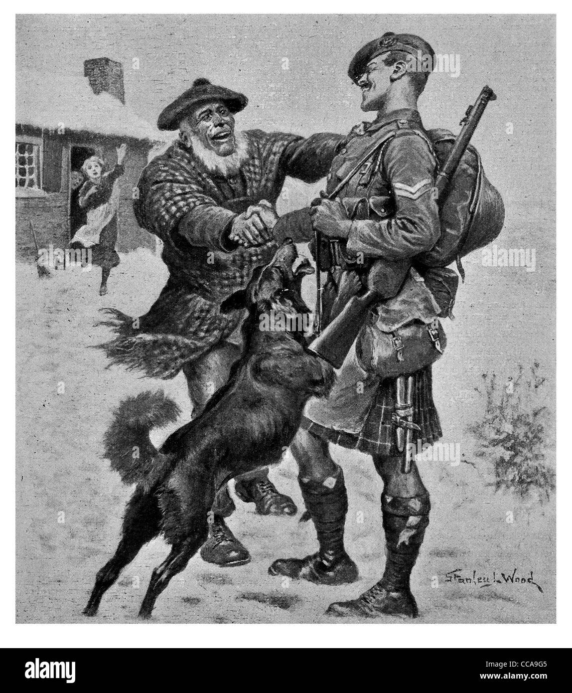 Welcome home 1917 Highland Scots soldier New Year Christmas family winter snow Scotland happy pet dog rifle kilt present festive Stock Photo