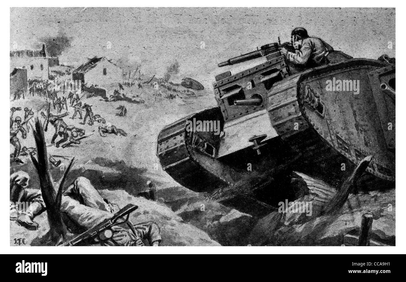 Cambria front tank mounted machine gun killed 200 advancing Germans Hindenburg 1917 front line action armoured vehicle - Stock Image