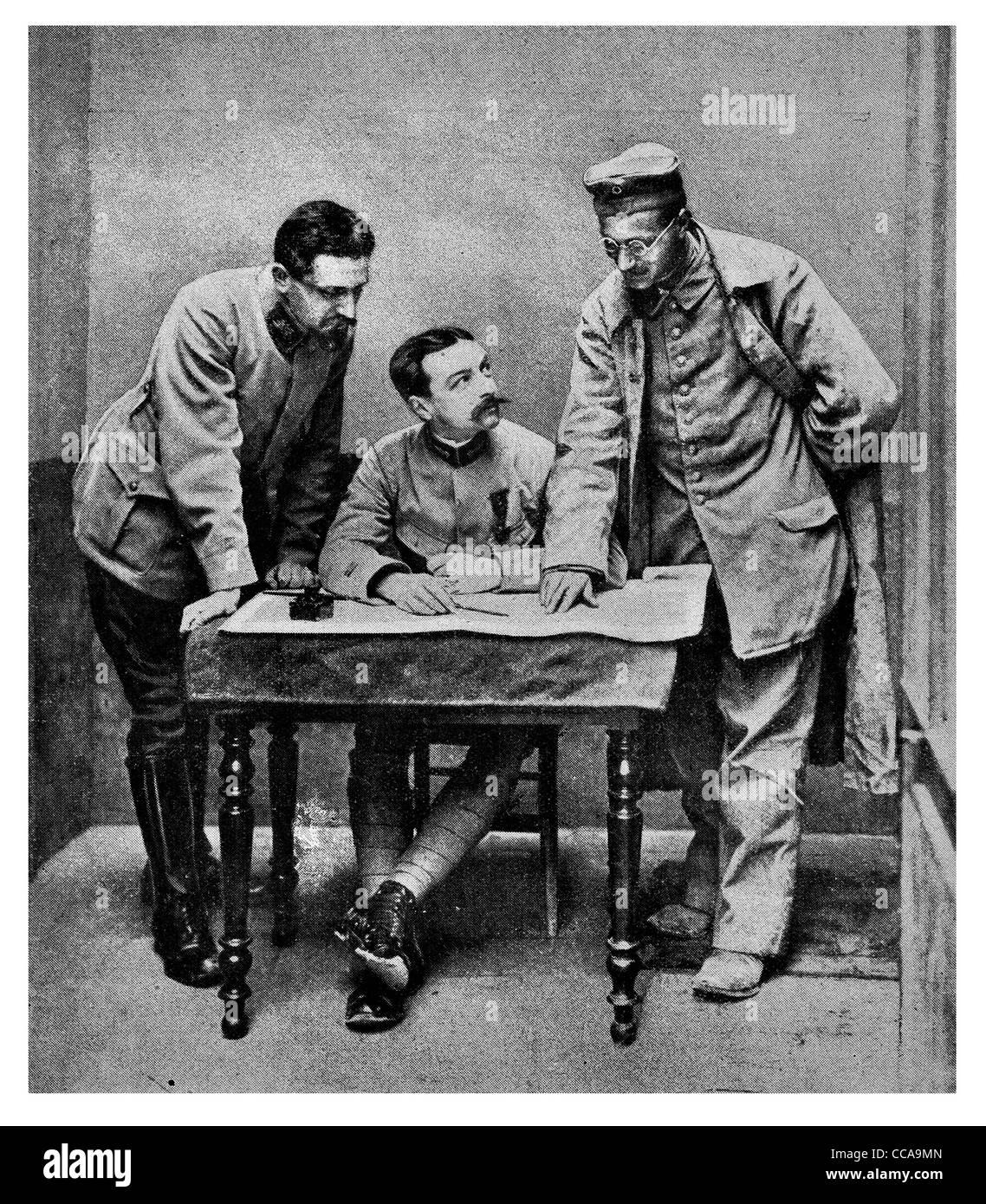 1916 German Traitor trickster spy spies French officer interrogating interrogation prisoner questioning intelligence - Stock Image