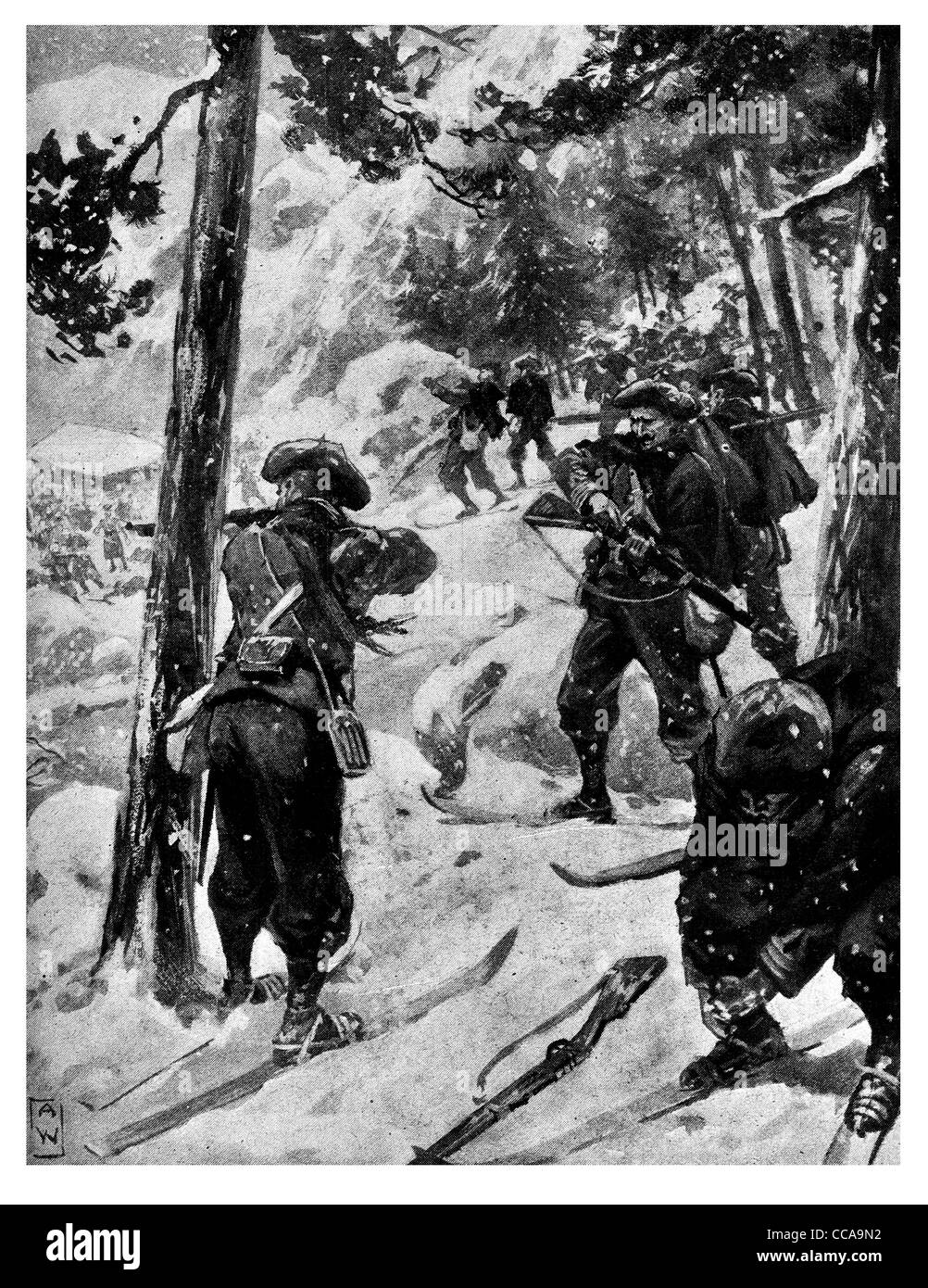 British French Vosges Pass mountain range snow winter 1914 pine forest woods rifle fire snowing front line skis - Stock Image