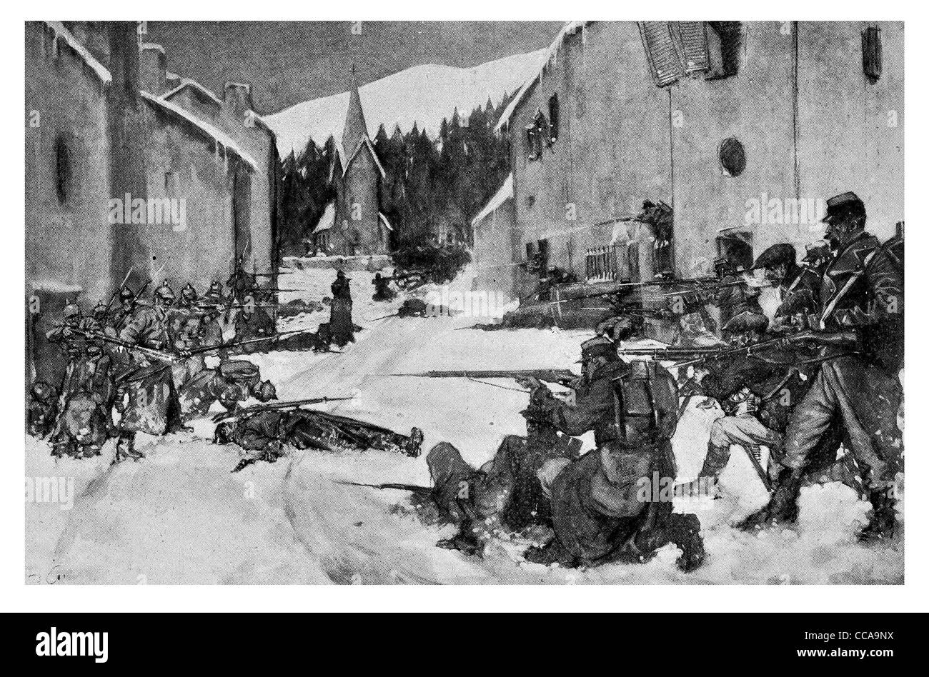 1914 Terrible house struggle Steinbach Upper Alsace French V German forces bayonet rifle snow winter street fighting - Stock Image