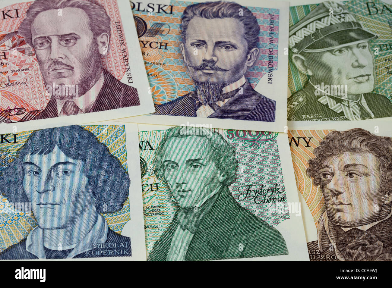 historical portraits (including Chopin and Copernicus) on vintage banknotes from Poland (1970s) - Stock Image