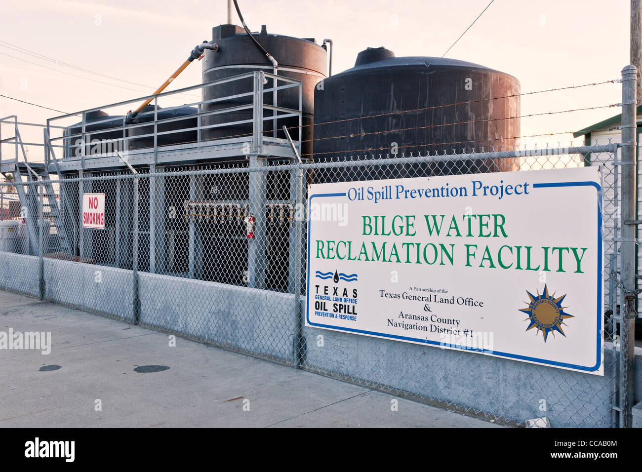 Bilge water reclamation facility 'Oil Spill Prevention Project'. - Stock Image