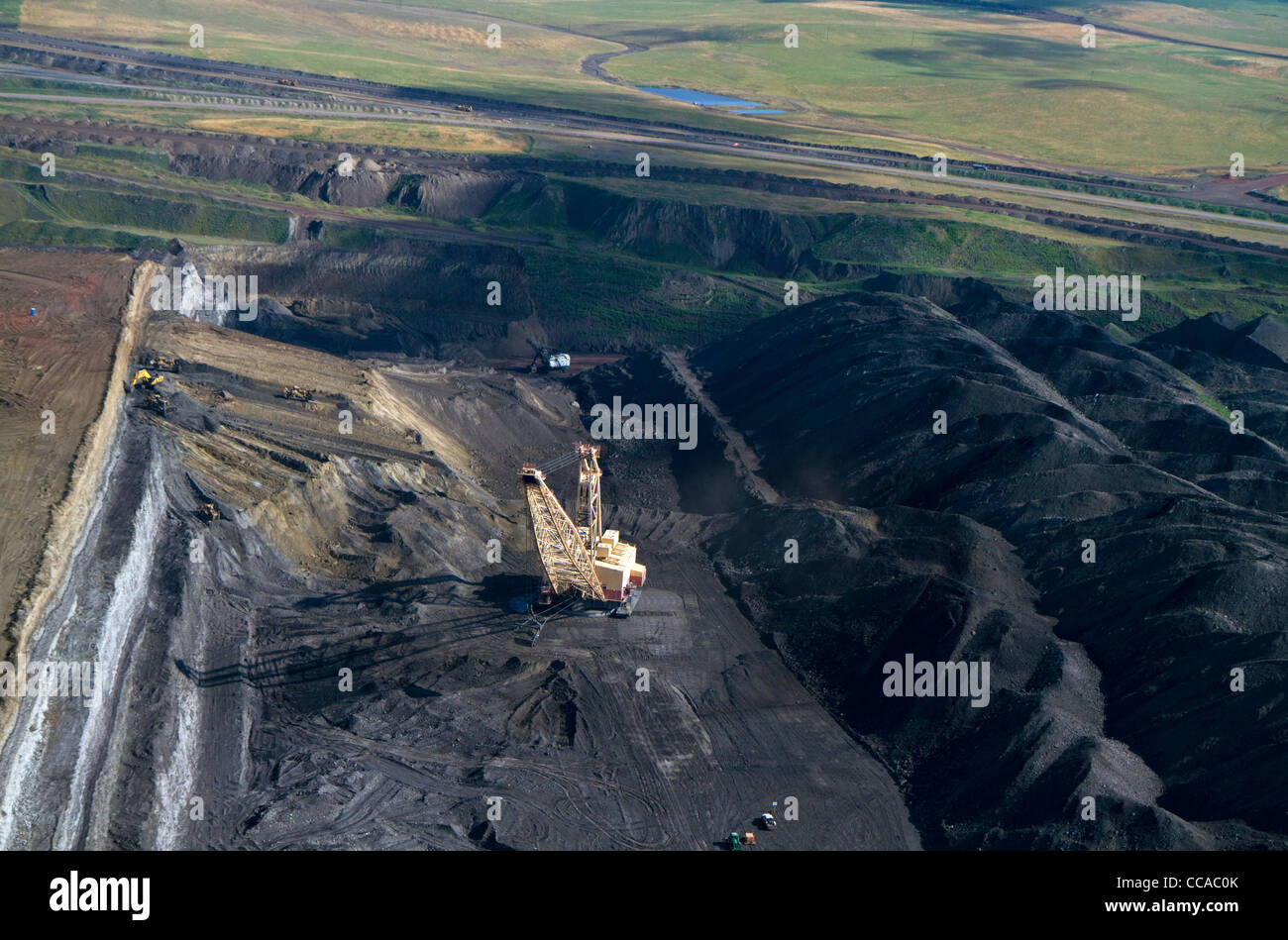 Aerial view of a dragline being used in the process of coal surface mining in Campbell County, Wyoming, USA. Stock Photo