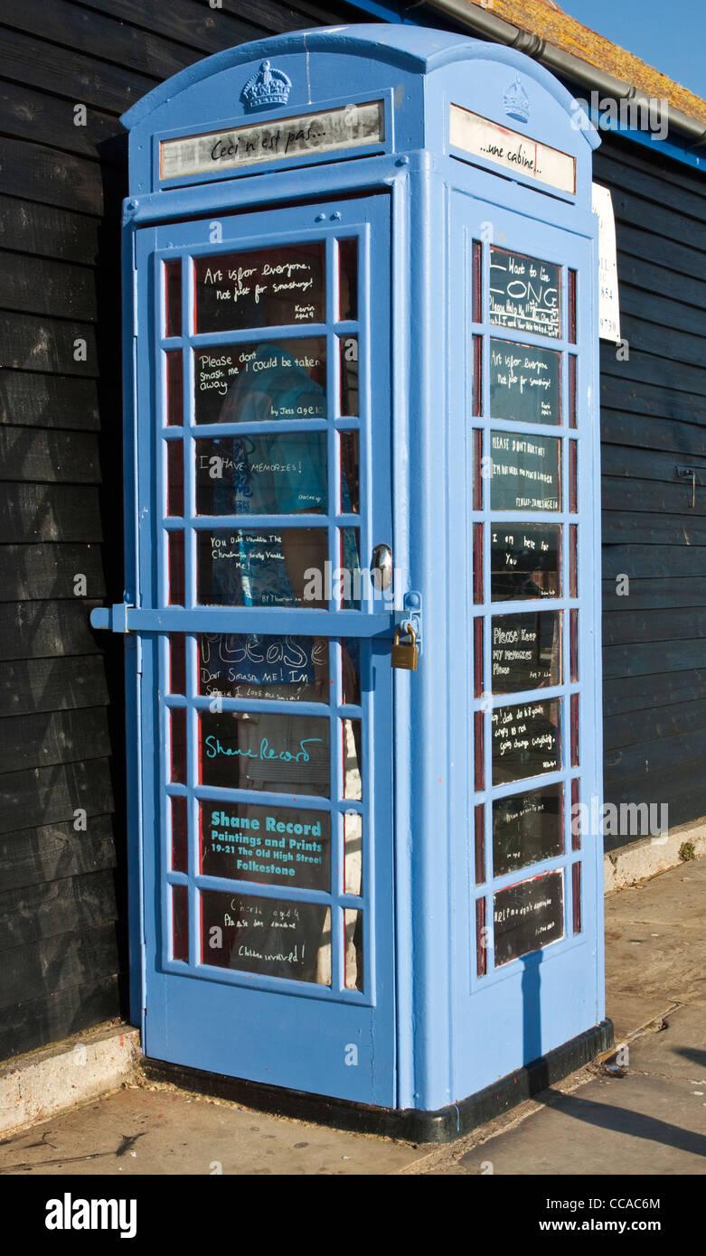 Blue Telephone Kiosk Folkestone Kent Stock Photo