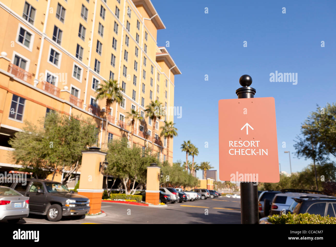 Resort check in sign - Stock Image