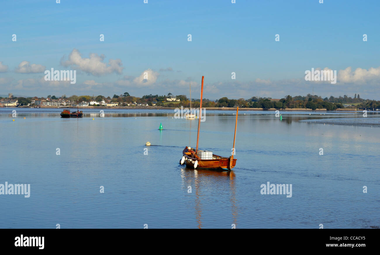 Moored boats on the Exe estuary Devon - Stock Image