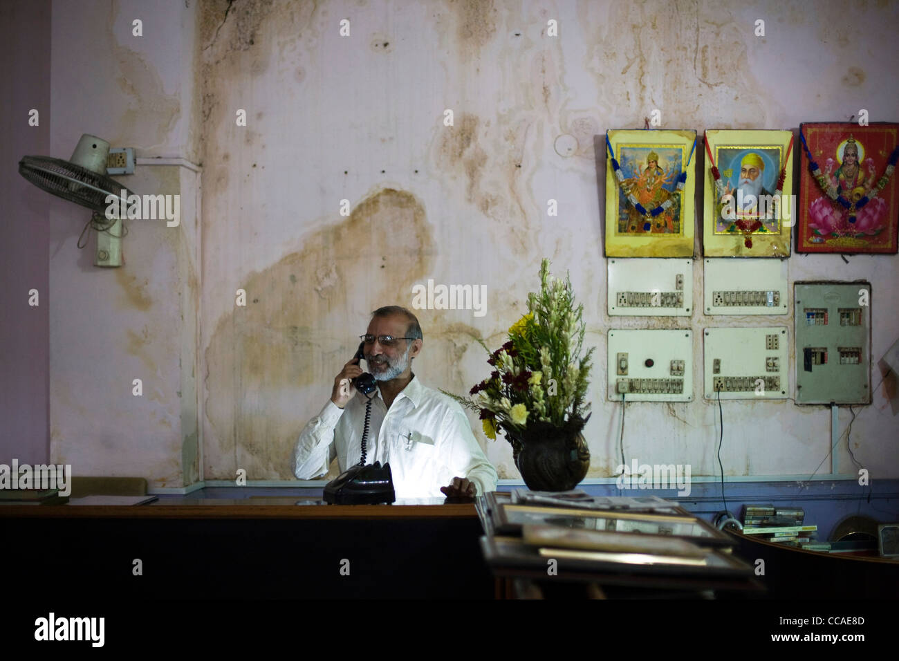 Mukesh Joshi, the manager at Moti Mahal Restaurant in Old Delhi, India - Stock Image