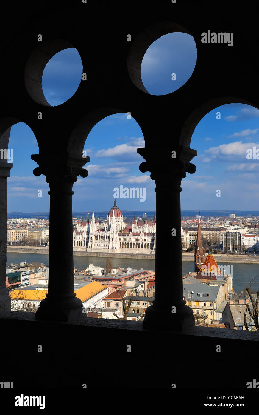 Budapest, Hungarian Parliament Building and Danube River view from Buda Castle Fishermen's Bastion Stock Photo