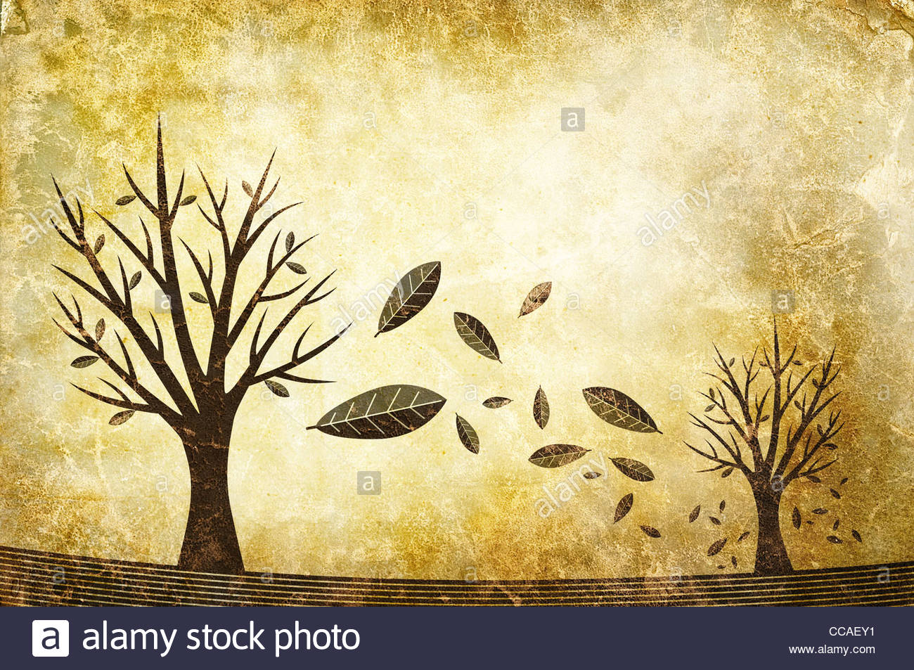 autumn leaves falling from tree illustration - Stock Image