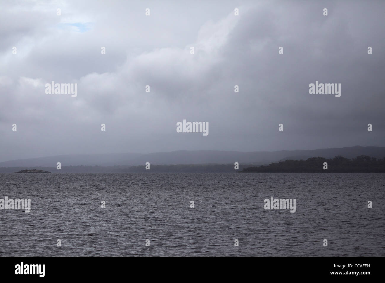 A grey and overcast day at the estuary of the Frankland River at Denmark in Western Australia, Australia. - Stock Image
