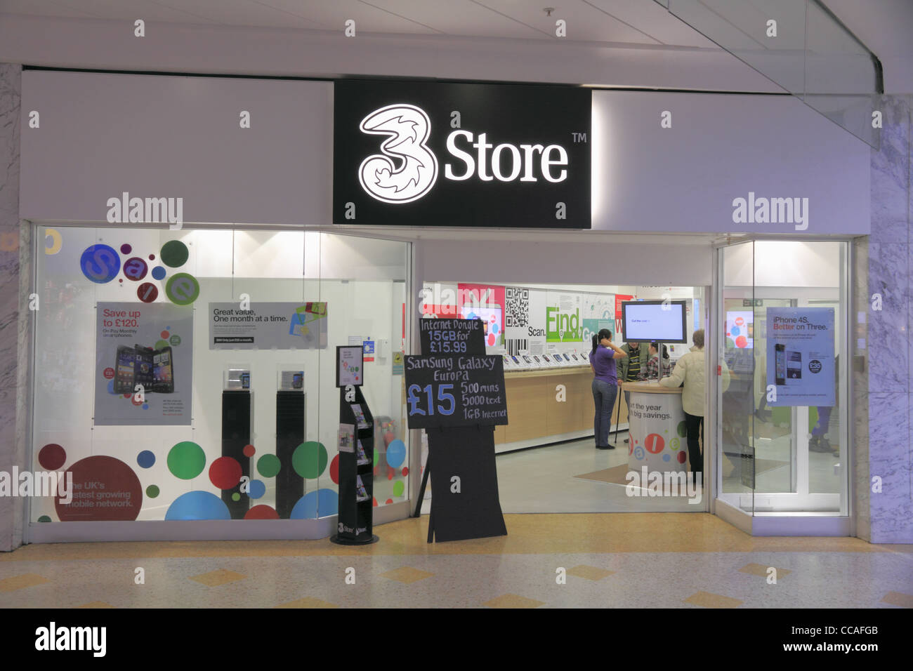 A 3 three mobile cell telephone phone shop store retail outlet in
