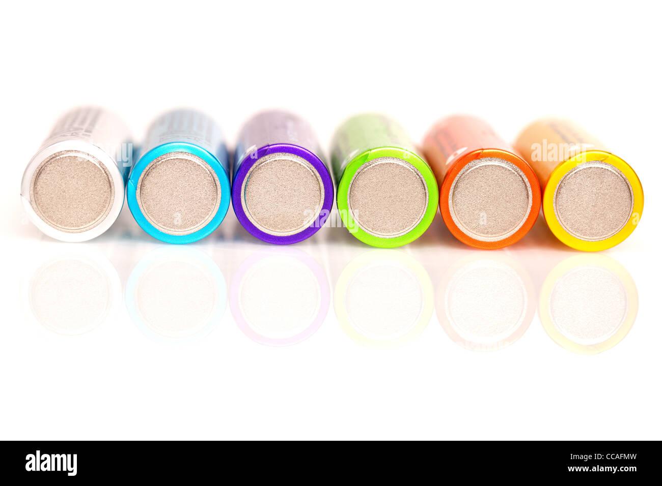 macro shot of colorful batteries - Stock Image