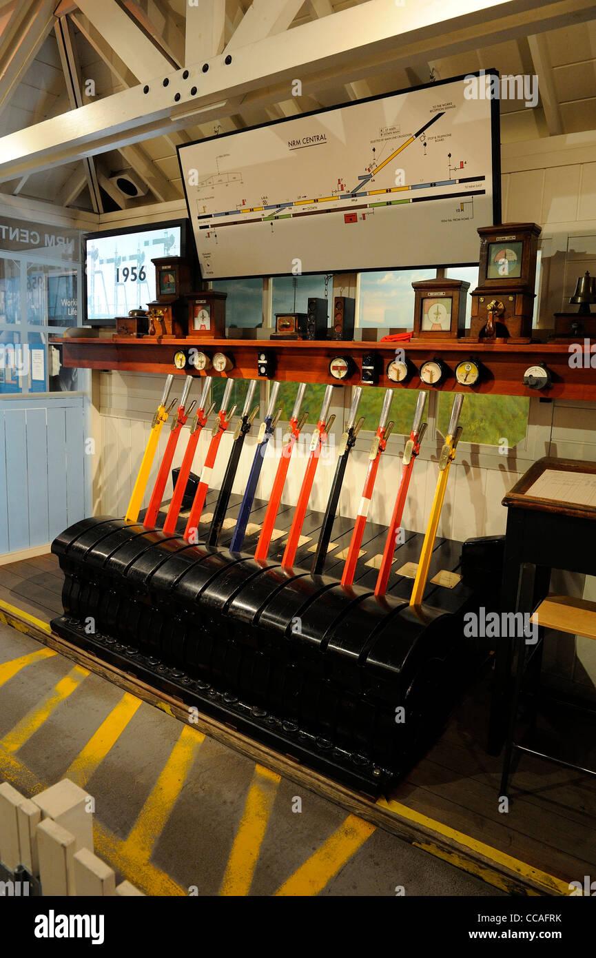 railway signal box levers national railway museum - Stock Image