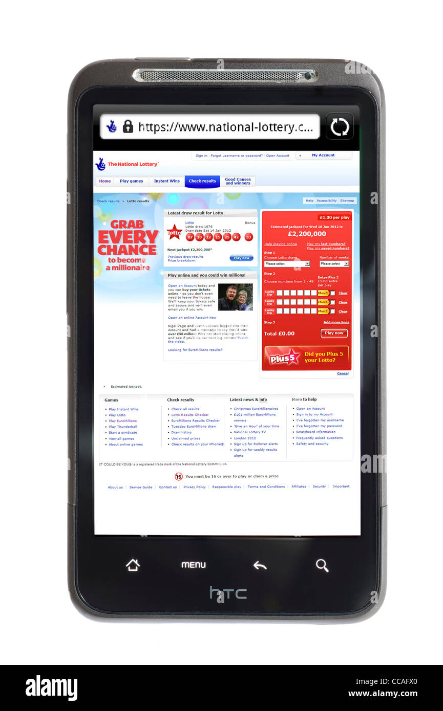 The UK National Lottery website on an HTC smartphone - Stock Image