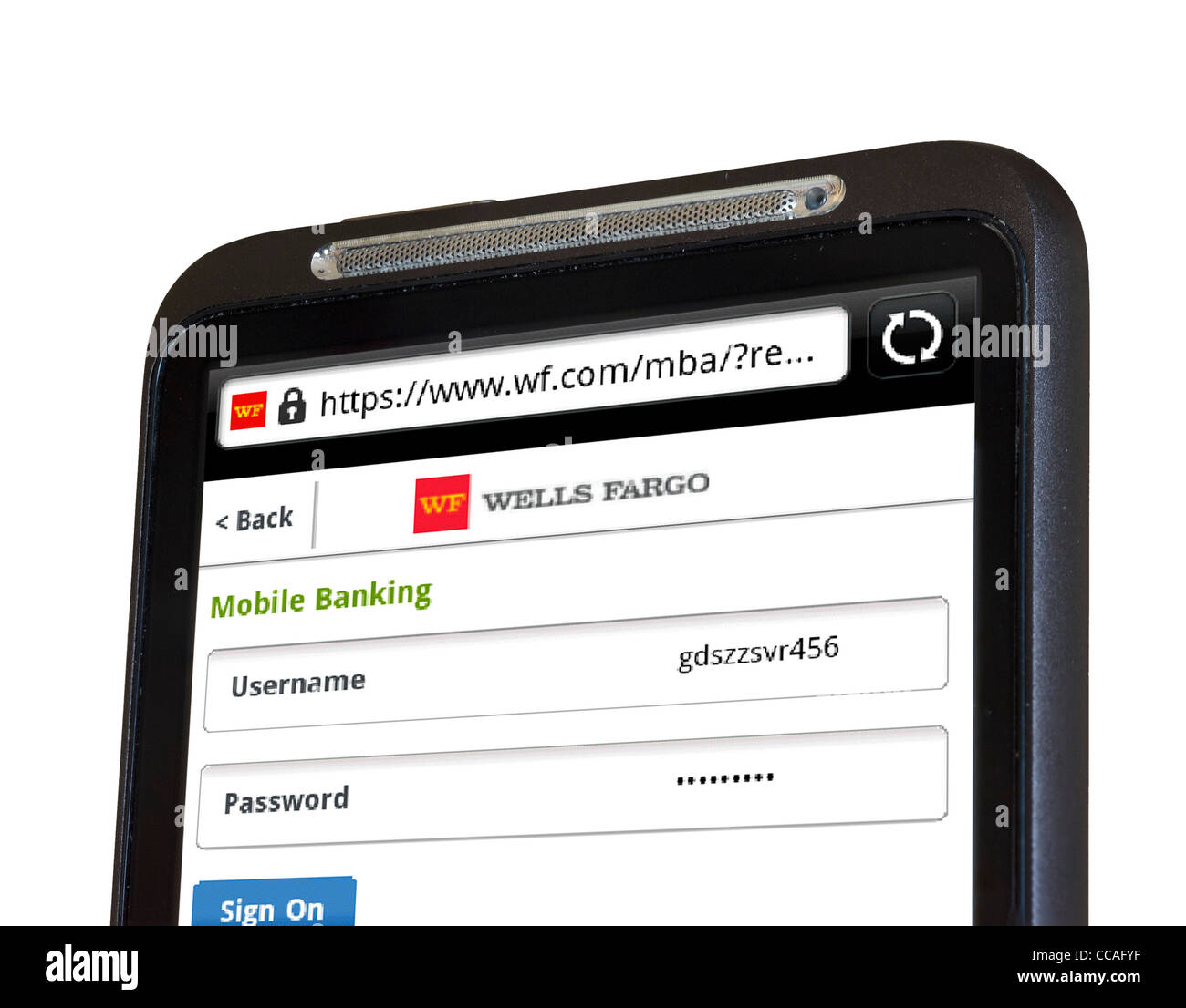 Logging on to online mobile banking with Wells Fargo Bank on an HTC