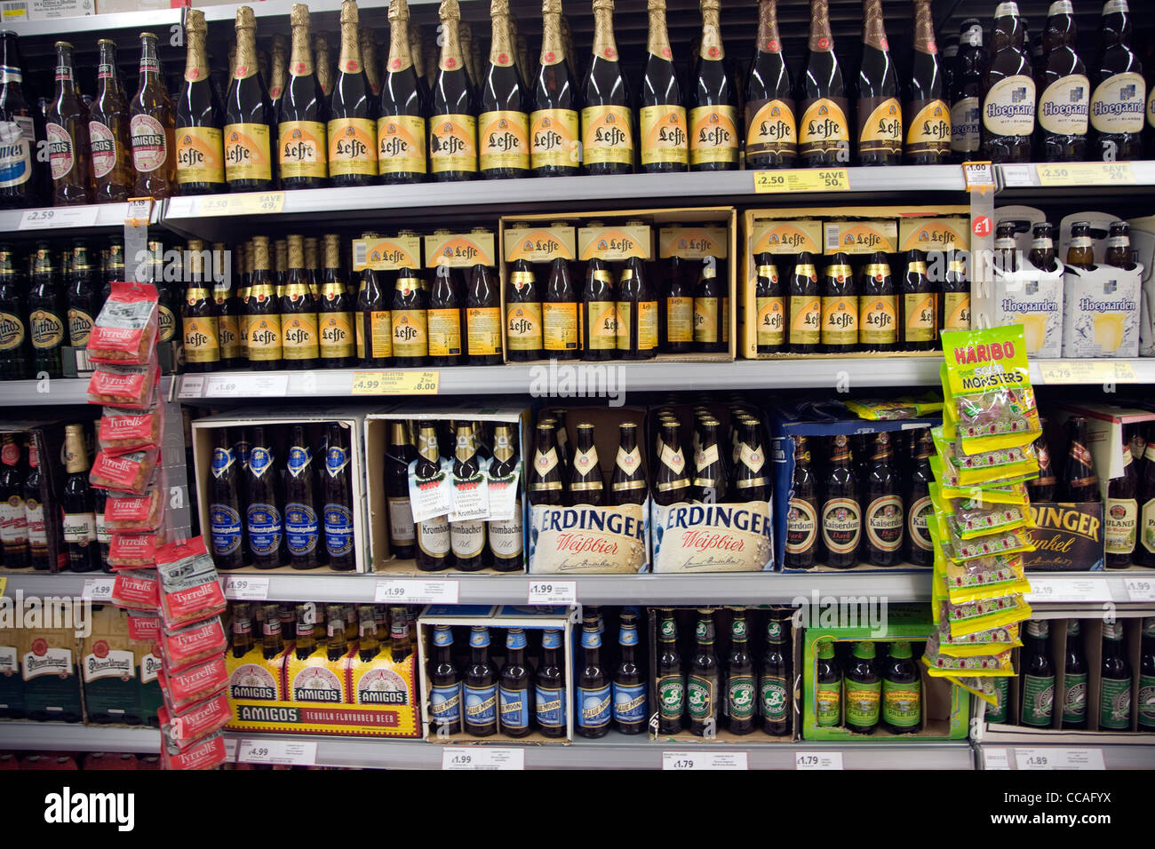 Imported luxury beer display supermarket shop - Stock Image